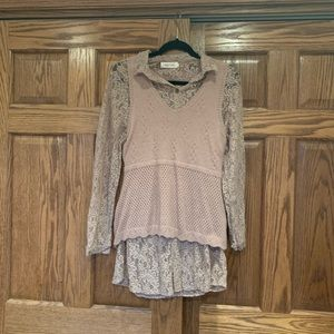 Gently used Simply Couture sweater/shirt pair